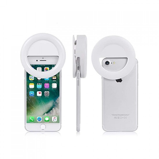 LED Selfie Ring Light for Smartphones,Clip-on (White)