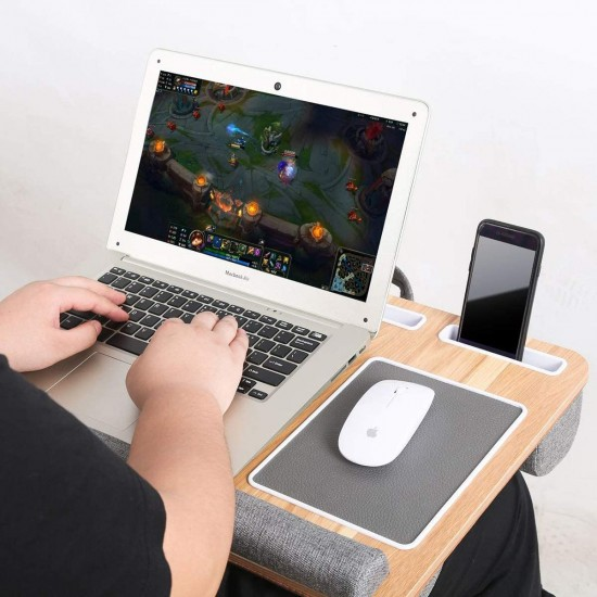 Lap Desk - Fits up to 17 inches Laptop Desk, Built in Mouse Pad & Wrist Pad for Notebook, MacBook, Tablet, Laptop Stand with Tablet, Pen & Phone Holder